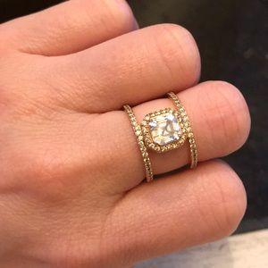 Henri Bendel Luxe Asscher Cut Pavé Harness Ring